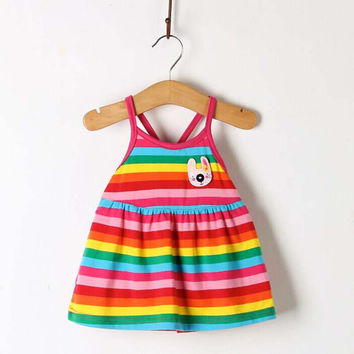 2016 Rainbow Baby Girl Clothes Dresses 0-12 Month Kids Summer Colorful Dress Newborn Clothing