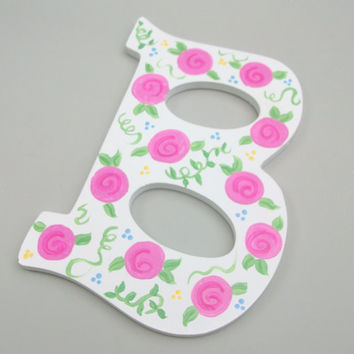 Wall Letter Initial Pink Rose Cottage Chic by daisybethdesigns