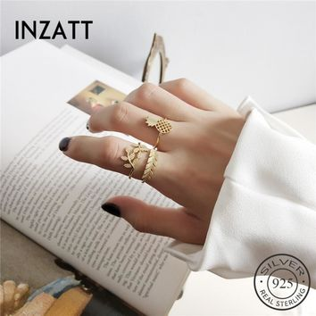 INZATT Punk Personality Pineapple Leaves Adjustable Ring Real 925 Sterling Silver Fashion Jewelry For Women Party Accessories