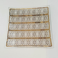 Bent Glass Tray Mid Century Gold White Atomic Diamonds Frosted