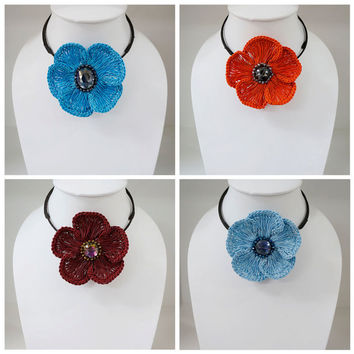 Crochet Spring flower choker necklace