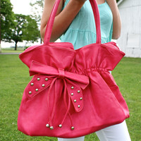 Studded Bow Purse: Pink