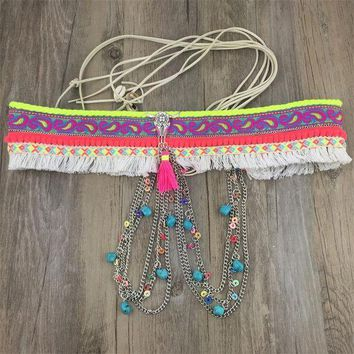 DCCKFV3 2017 New Arrival Gypsy Silver Metal Dangle Hippie Boho Flower Turkish Bohemian Shimmy Belt Dance Body Chain Coins Belly