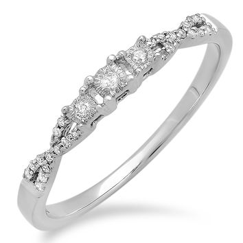0.10 Carat (ctw) 10k White Gold Round Diamond Ladies Bridal Crossover Swirl 3 Stone Promise Engagement Ring 1/10 CT - Dazzling Rock