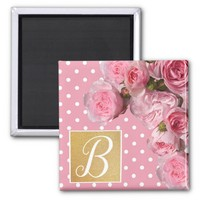 Pink Polkadot and Peonies Magnet | Zazzle.co.uk