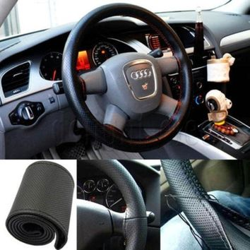 DCCKIX3 PU Leather DIY Car Steering Wheel Cover With Needle and Thread = 1932274372