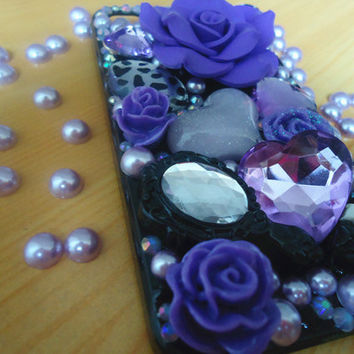 Iphone 4 and Iphone 4s case.DIY princess case.rose and jewelry case art.