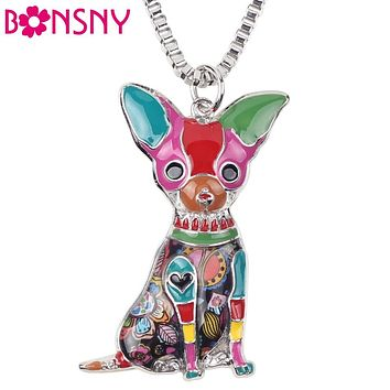 Bonsny Maxi Statement Metal Alloy Chihuahuas Dog Choker Necklace Chain Collar Pendant Fashion New Enamel Jewelry For Women