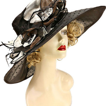 Kentucky Derby Church Wedding Polka Dot Wide Brimmed Organza Hat - Black
