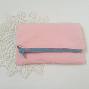 Rose pink pouch, pink pencil case, pink zipper purse, pink coin purse, pink linen pouch, linen pencil case, linen zipper pouch, makeup pouch
