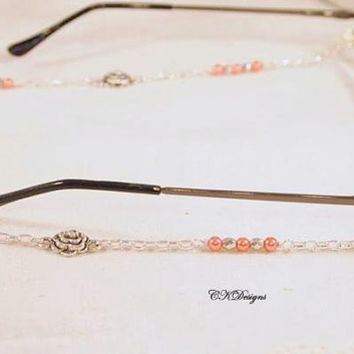 Coral Pearl Eyeglass Lanyard,  Glass Pearl Beads, Flower Charms,  Silver Chain Beaded Eyeglass Holder Necklace.  CKDesigns.us