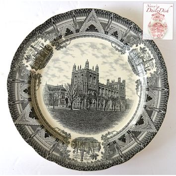 Copeland Spode Black Transferware Charger Plate Harper Memorial Library Chicago University Stunning Architectural Border