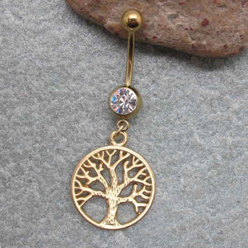 Gold wishin tree belly button ring ,  belly button jewelry,friendship belly rings,summer jewelry