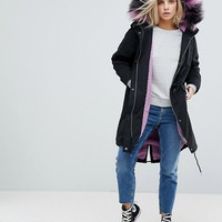 Noisy May Petite Parka With Faux Fur Hood at asos.com