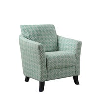 "Faded Green "" Angled Kaleidoscope "" Fabric Accent Chair"