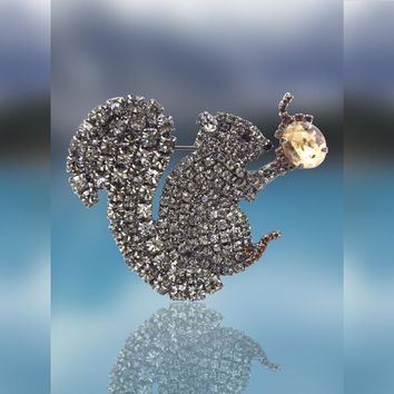 Squirrel and Acorn Pin with Swarovski Crystal Stones by Albert Weiss