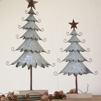 Set of 2 Galvanized Trees with Rustic Detail & Wooden Base