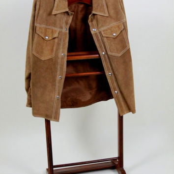 Mens  Suede Buckskin Jacket Works for a Suede Shirt  This Hippie Leather Jacket has a Snap Front