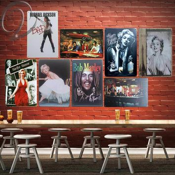 Vintage Bob Marley Michael Jackson Monroe Poster Painting Wall Hanging Decor Bar Decor Tin Sign Cafe Home Decorations Gift