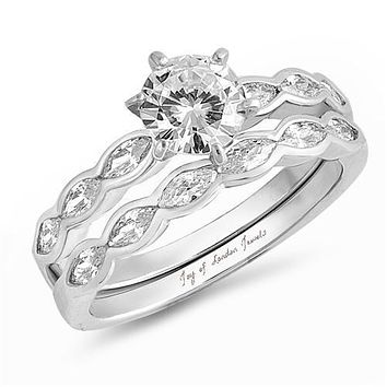 A Flawless 1.3CT Round Cut Russian Lab Diamond Engagement Ring Bridal Set