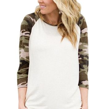 Camouflage Raglan Sleeve Womens Top