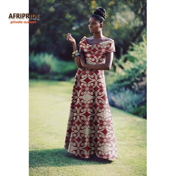 private custom african clothes for women elegant maxi party dress big size short sleeve pure cotton dress A722549