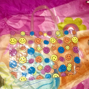 90s vintage cyber transparent clear pvc smiley face tote bag