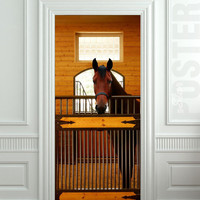 "GIANT Door Wall STICKER decole horse stole stable country poster 31x79""(80x200 cm)"
