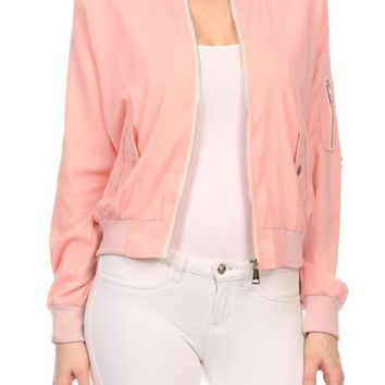 Jacket - Pink Ladies Bomber Jacket in Dust Pink