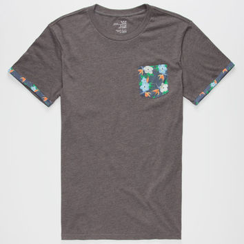 Blue Crown Tropical Space Flower Mens Pocket Tee Charcoal  In Sizes
