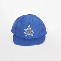 Vintage 80s MARINERS Hat / 1980s Classic Logo Blue Mesh Trucker Style Baseball Cap M - L