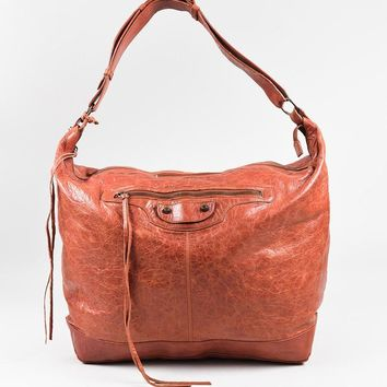 balenciaga red distressed leather classic day shoulder hobo bag fashion handbag in sum