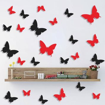 Beautiful DIY 3D Butterfly Wall Stickers Mirror Art Decal PVC Paper For Office Home Decoration Showcase - 12Pcs