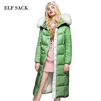 Elf SACK winter p loose detachable raccoon fur with a hood down coat female long design