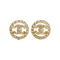 Chanel 1970's Vintage Strass Crystal CC Clip On Earrings