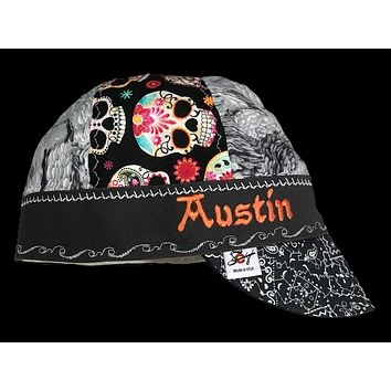 Sugar Skulls/Metallic Silver Embroidered Hybrid Welding Cap