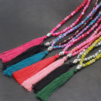 Bohemian Tassal Glass Beads Necklace