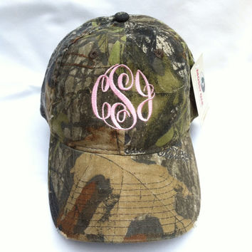 "Monogrammed Mossy Oak Camouflage Hat ""FREE SHIPPING"""
