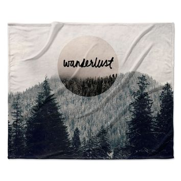 "Robin Dickinson ""Wanderlust"" Gray Black Fleece Throw Blanket"