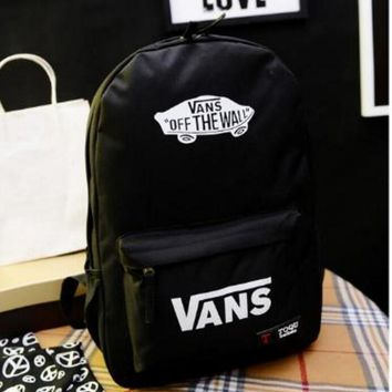 One-nice™ VANS Canvas double shoulder backpack college students in the wind of the school children's schoolbag youth fashion bag
