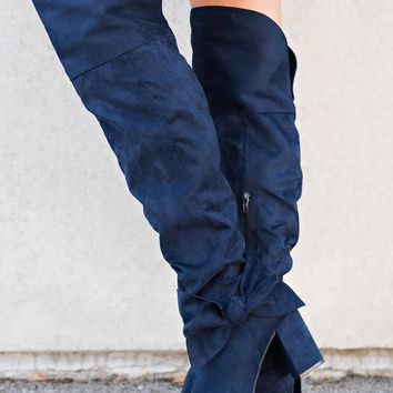 Nate Not Rated Bow Boots (Navy)