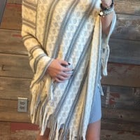 Striped Hooded Poncho