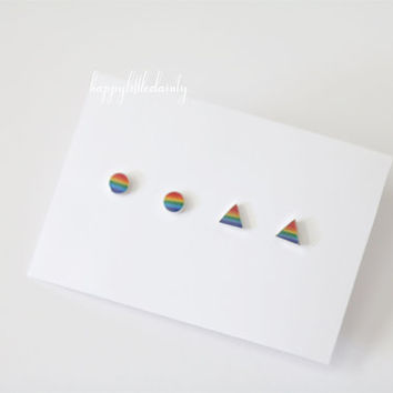 Rainbow Earrings, Rainbow Stud Earrings, Tiny Stud Earrings, Small Earrings, Round Earrings, Triangle Earrings, Geometric Earrings,Gay Pride