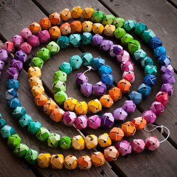 Hand-woven Paper Ball Paint Chip Garland in Rainbow Colors