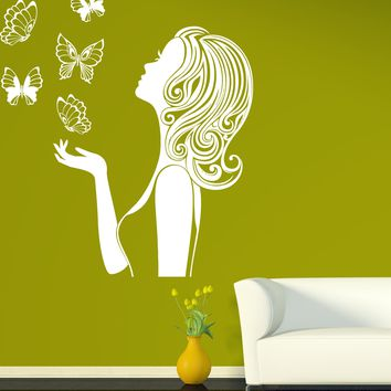 Vinyl Decal Beauty Decor Wall Stickers Beautiful Girl Silhouette Butterfly Inspired Beauty Unique Gift (n401)