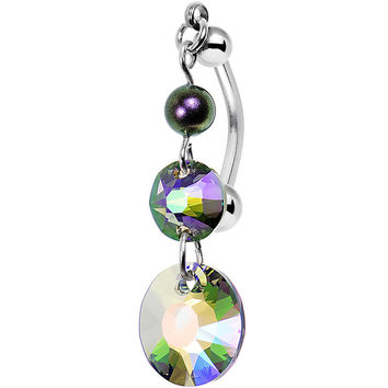 Triple Aurora Top Mount Belly Ring Created with Swarovski Crystals