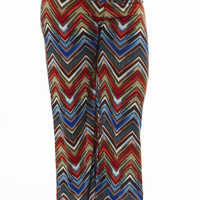 High Waisted Chevron Plus Size Palazzo Pants