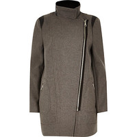 River Island Womens Grey long biker coat