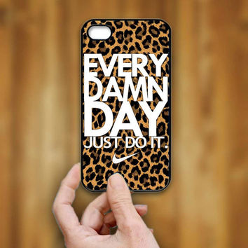 Nike Every Damn Day Leopard Pattern - Print Hard Case - iPhone 4/4s Case - iPhone 5 Case - Black - White (Option Please)