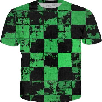 Grunge tiles green tee shirt, squares pattern worn out look